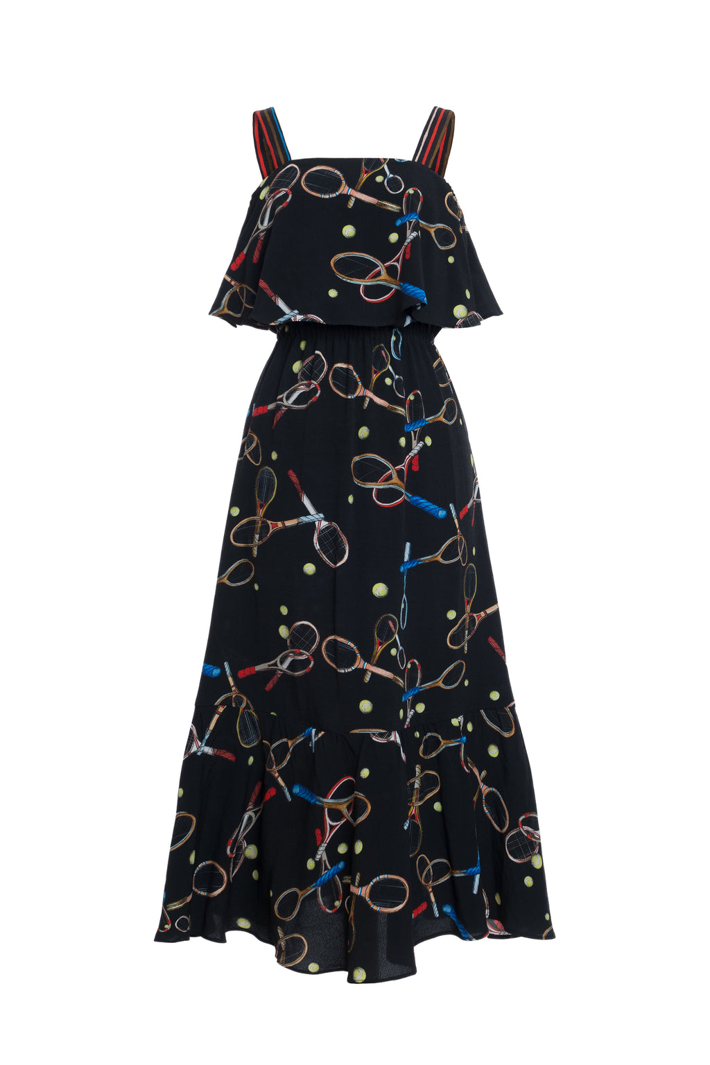 Totka Racket Print Ruffled Dress