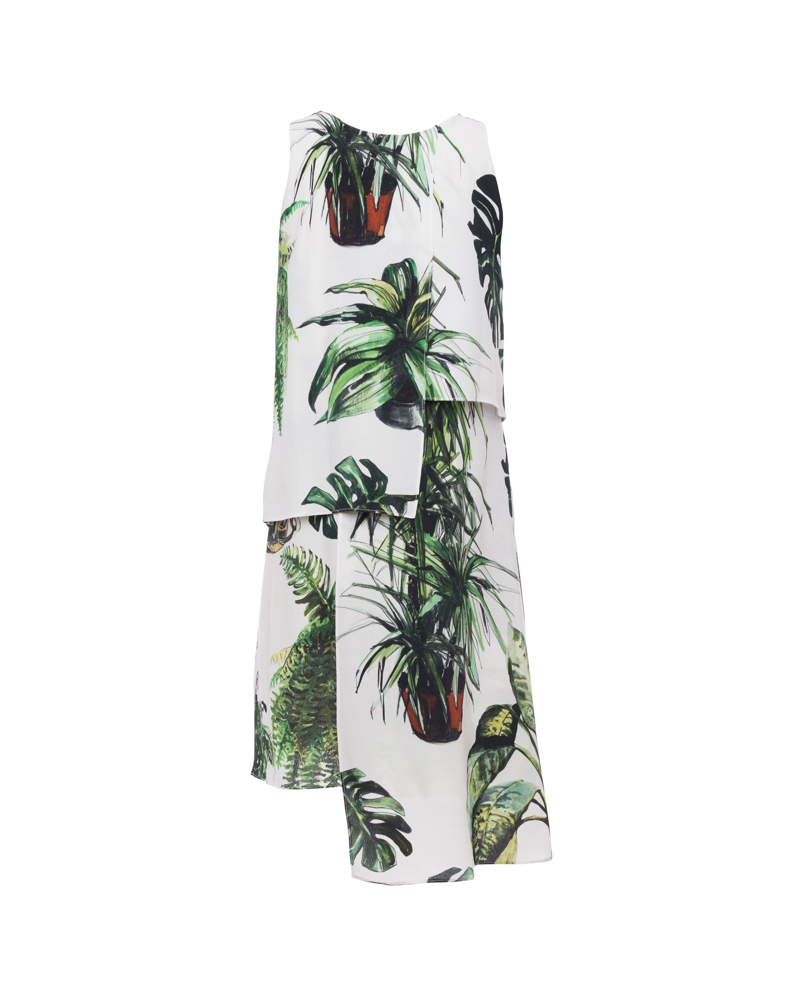 Plants Print Layered Dress