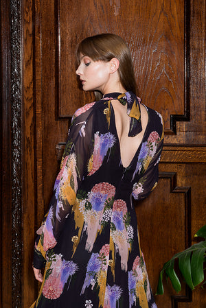 MARGIT  Gloomy Flower  Print Open Back Tie Midi  Dress