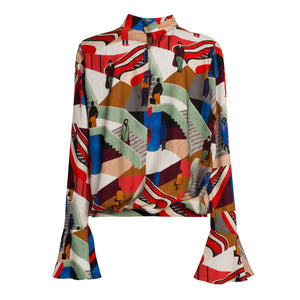 METROPOLIS Stairs Print Mock Neck Top