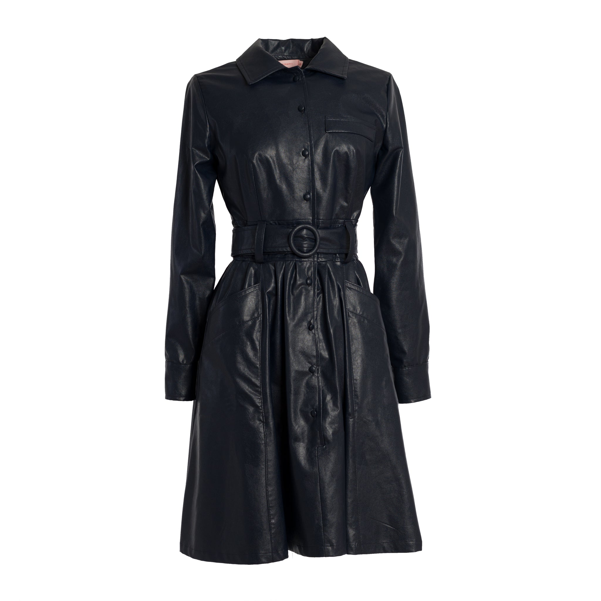 GANZ Midnight Blue Vegan Leather Shirt Dress