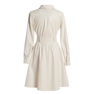 GANZ Off White Vegan Leather Shirt Dress
