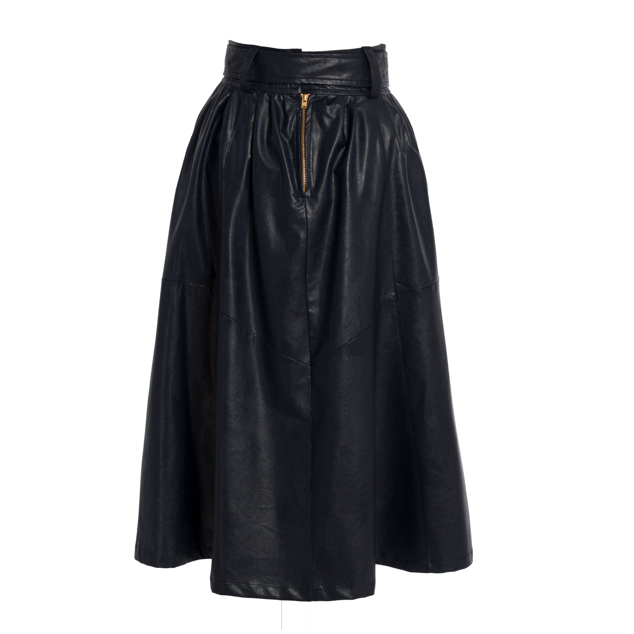 HUNSLET Midnight Blue Vegan Leather Midi Skirt
