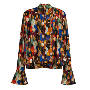 METROPOLIS Face Print Mock Neck Top