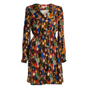 KLINIKAK Face Print V-neck Dress