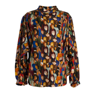 KOKI Face Print Gathered Shirt