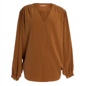 HATARUT Rust Gathered Top
