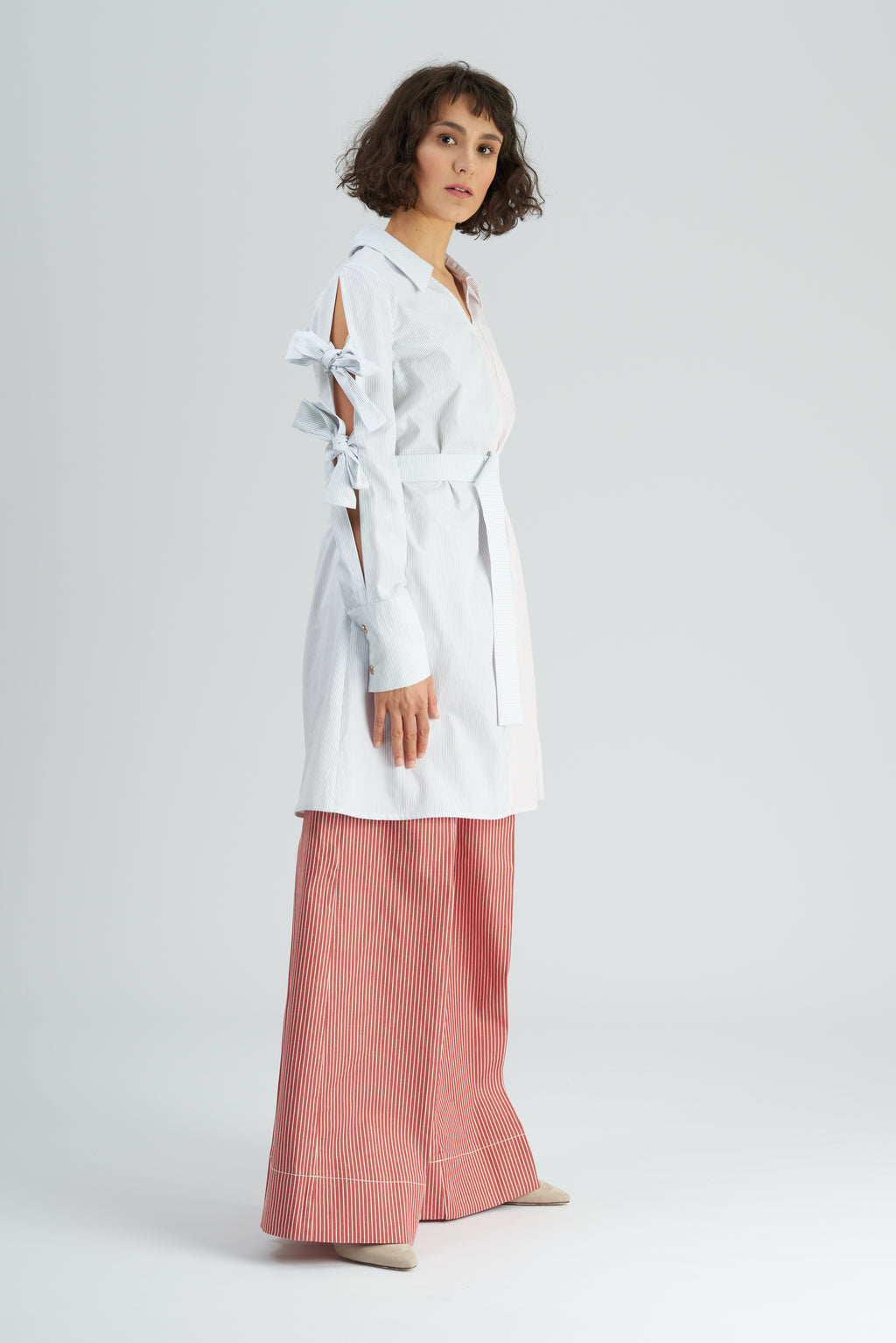 Marosi Colour Block Tie Sleeve Shirtdress Blue