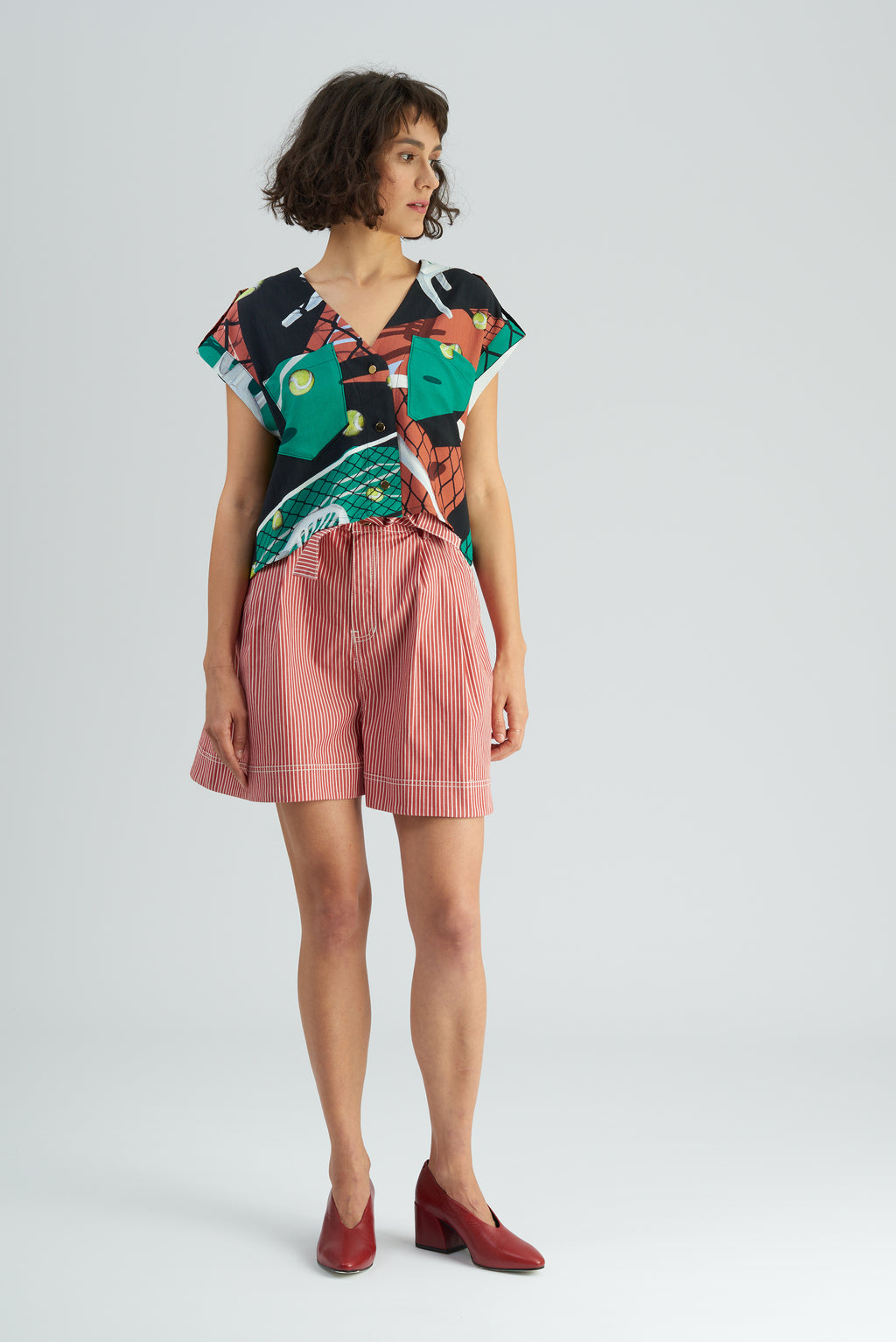 Brinker Court Print Crop Shirt