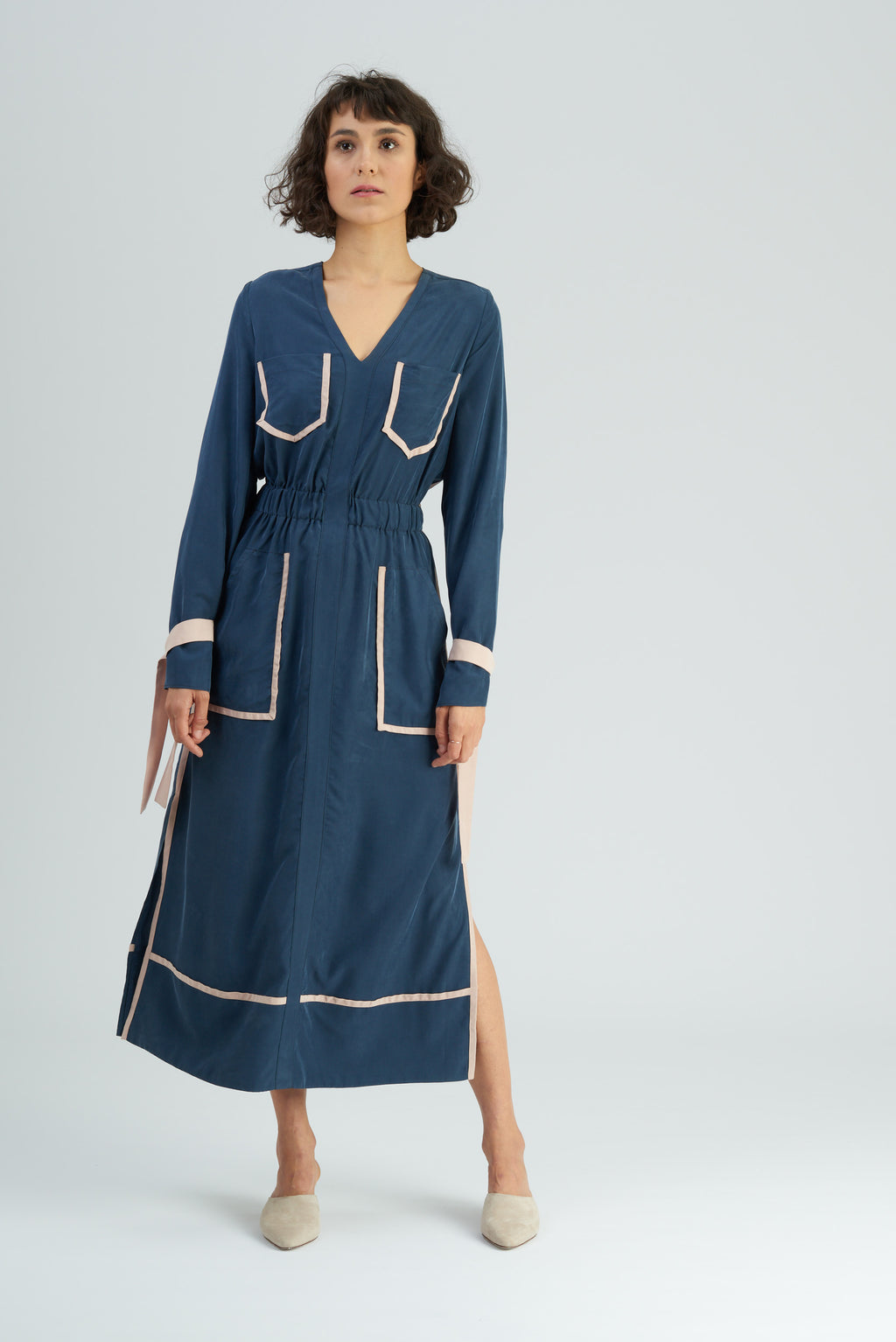 Babos Dark Navy Silky Contrast Shirtdress