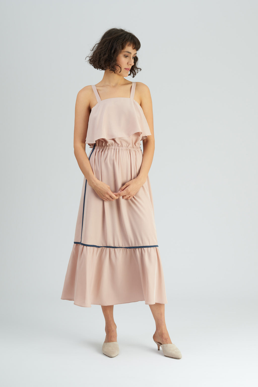 Totka Nude Silky Contrast Ruffled Dress