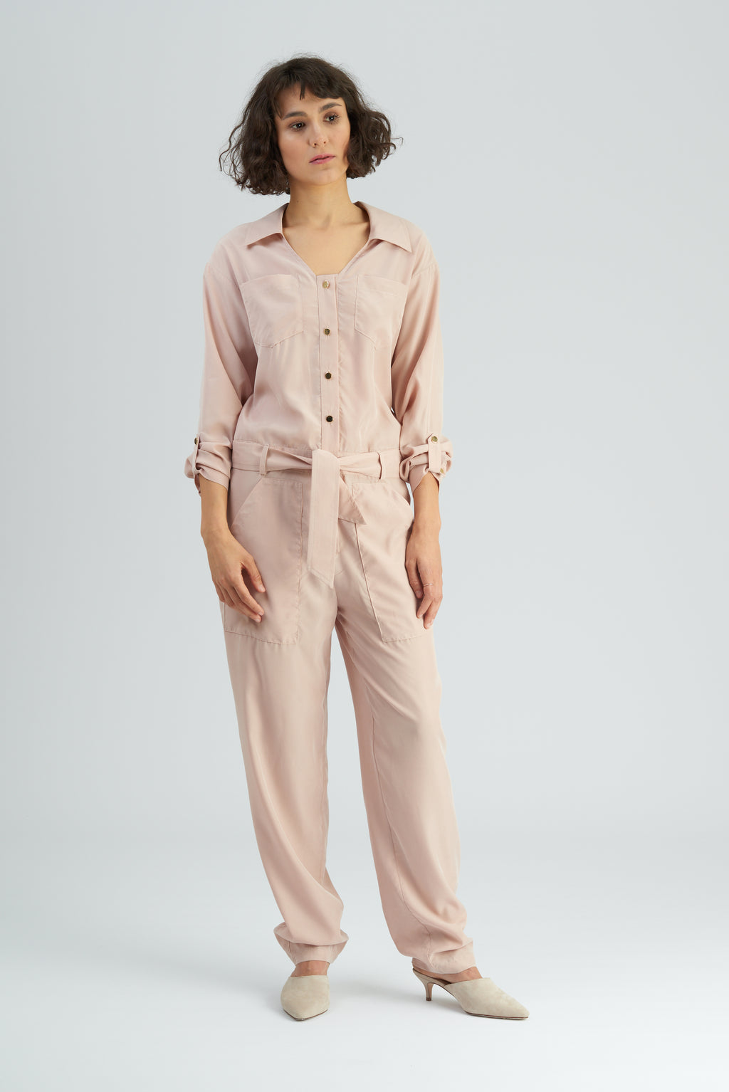 Hazel Nude Long Sleeve Jumpsuit