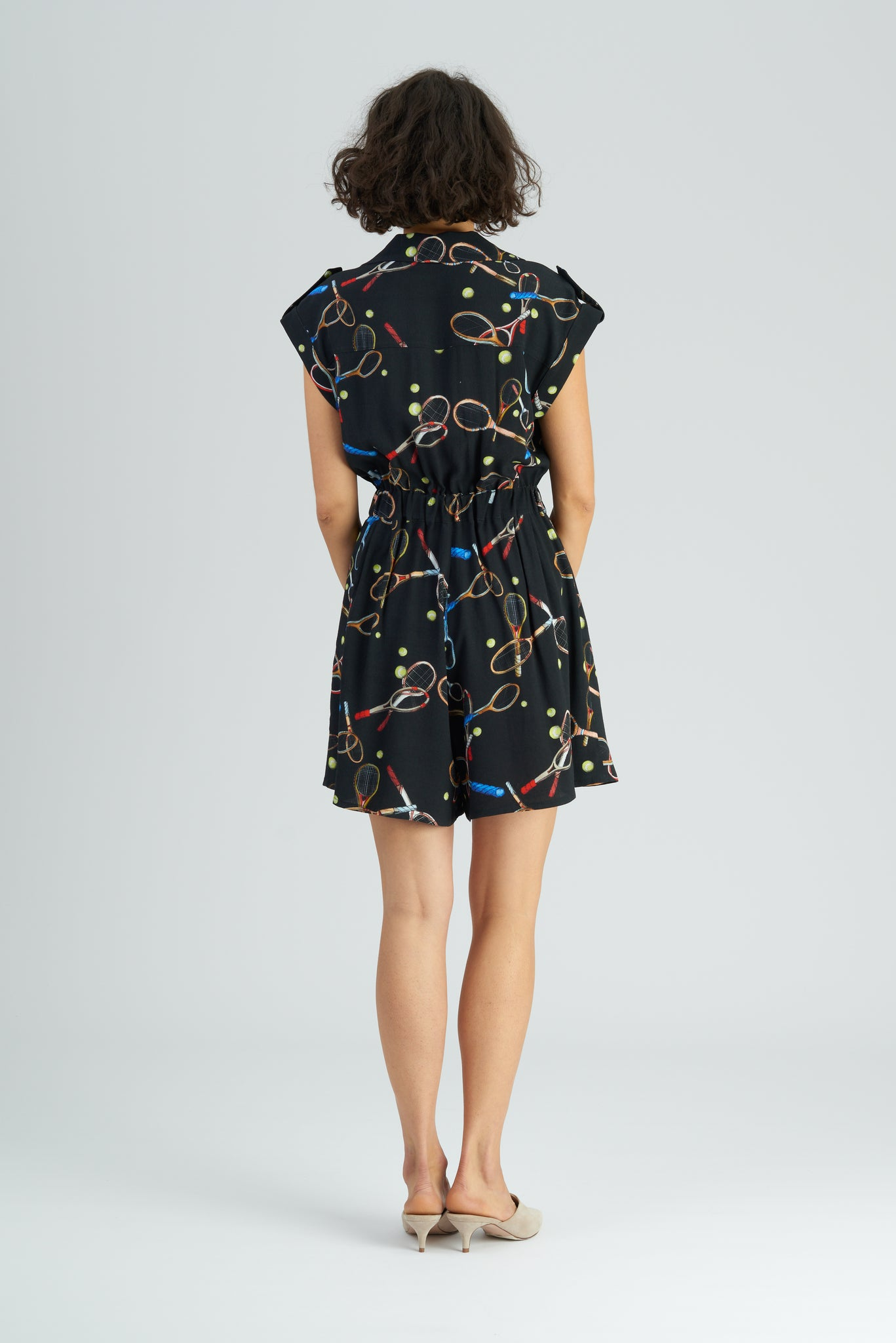King Racket Print Playsuit