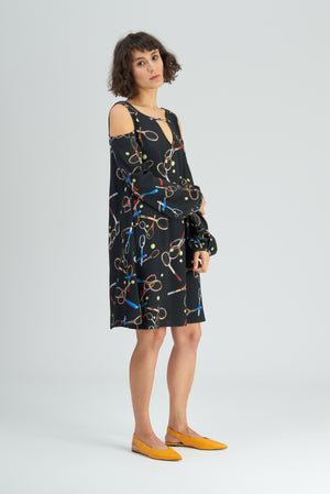 Cibulkova Racket Print Cold Shoulder Dress