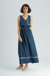 Halep Dark Navy Silky Contrast Maxi Dress