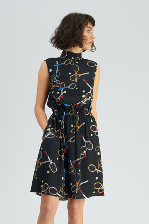 Ivanovic Racket Print Mock Neck Dress