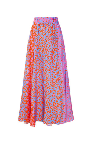 ABBAZIA button front slit skirt 'blossom cheetah'