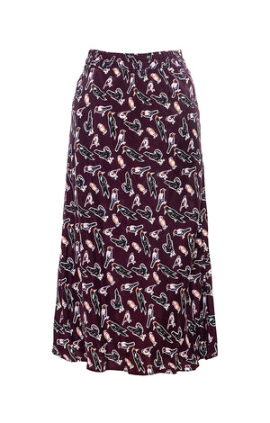 "CINEGE bias-cut skirt ""small birds"""
