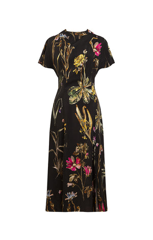 DANDAR open back tie dress 'dark botanical'