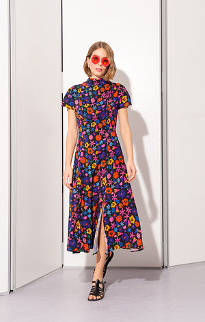 DANDAR open back tie dress 'doodle flower'