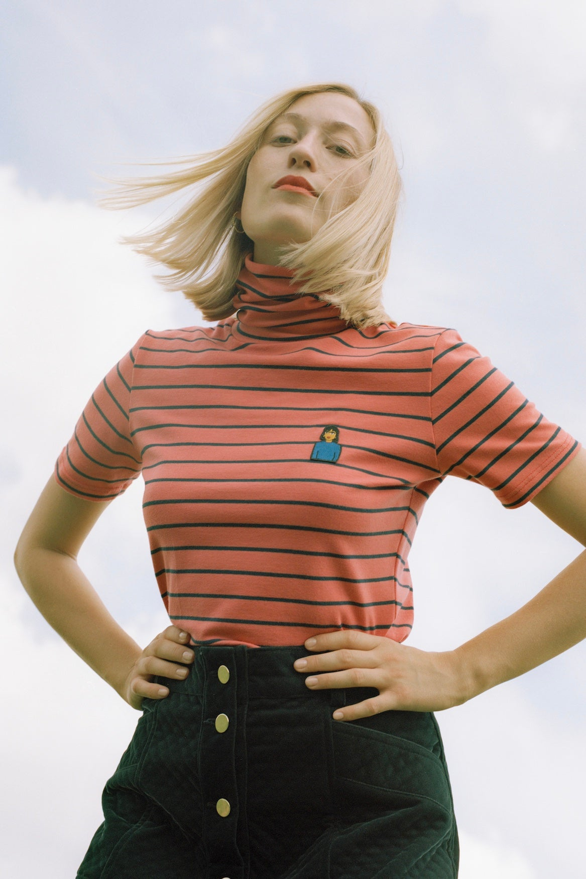 VENGRIJA Striped Jersey Turtleneck