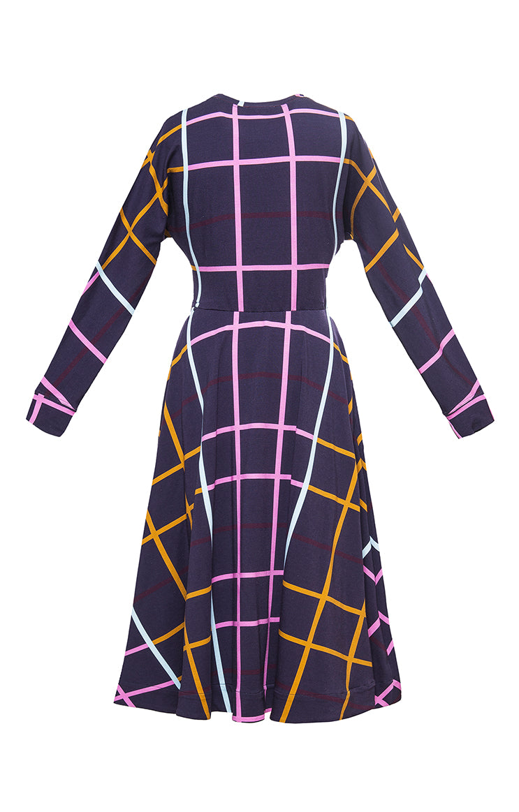 GALYA bat sleeve skirt dress 'checked'