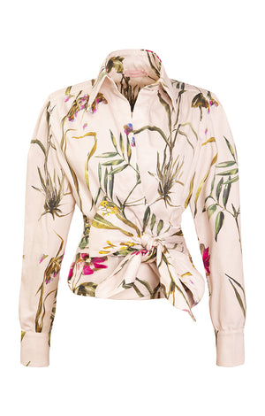 GELLERT poplin wrap shirt 'light botanical'