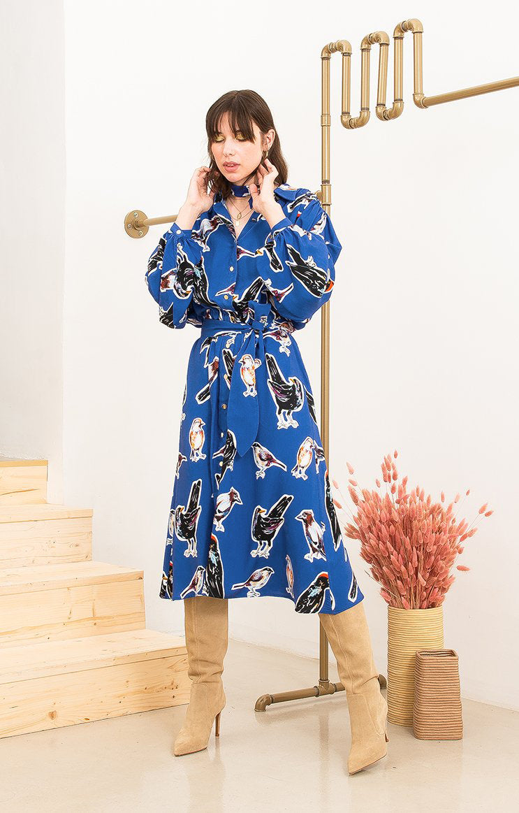 HEVES gathered shirt dress 'big birds'