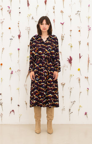 HEVES gathered shirt dress 'mountain'