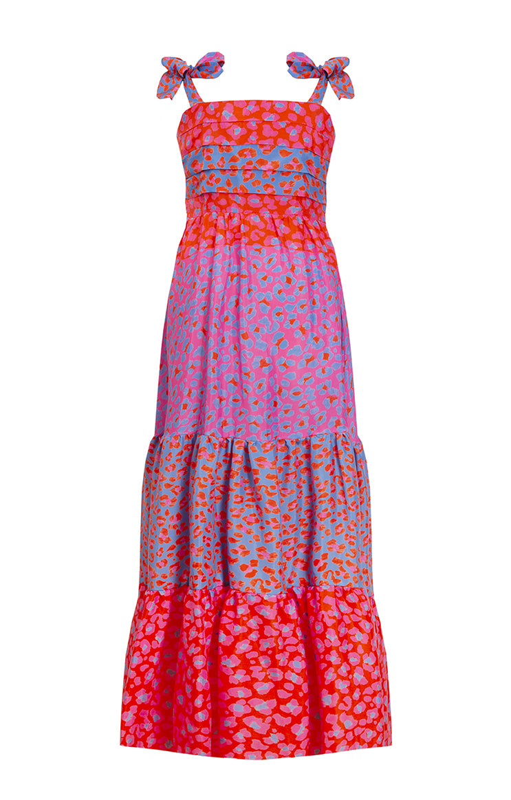 HULLAM tie shoulder maxi dress 'blossom cheetah'