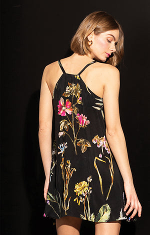 IGAL button front cami dress 'dark botanical'