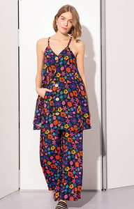 IGAL button front cami dress 'doodle flower'