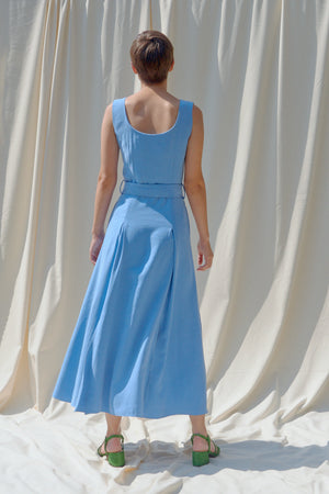 BALASTYA Cerulean Multi Slits Dress