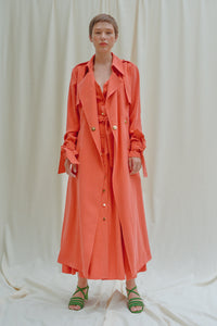 KISTELEK Salmon Trench Coat