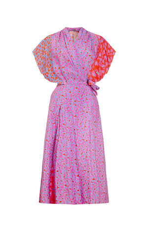 LOVRAN multi slits wrap dress 'blossom cheetah'