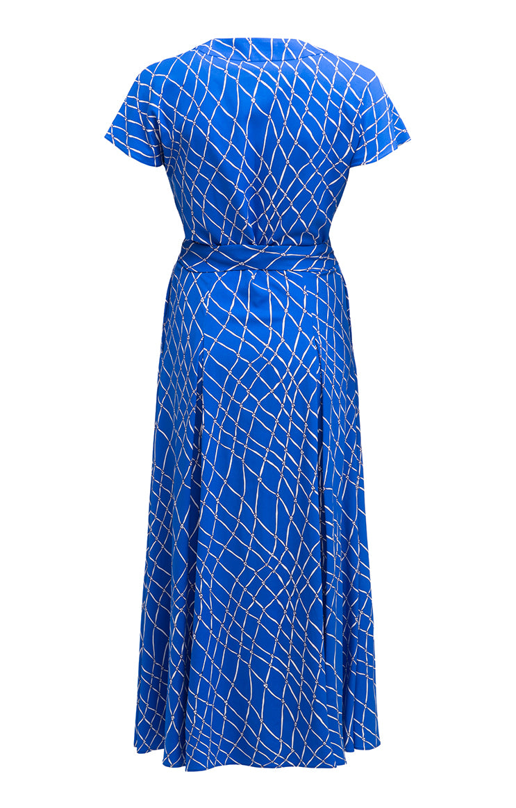 MARNA décolletage detail wrap dress 'fishnet blue'