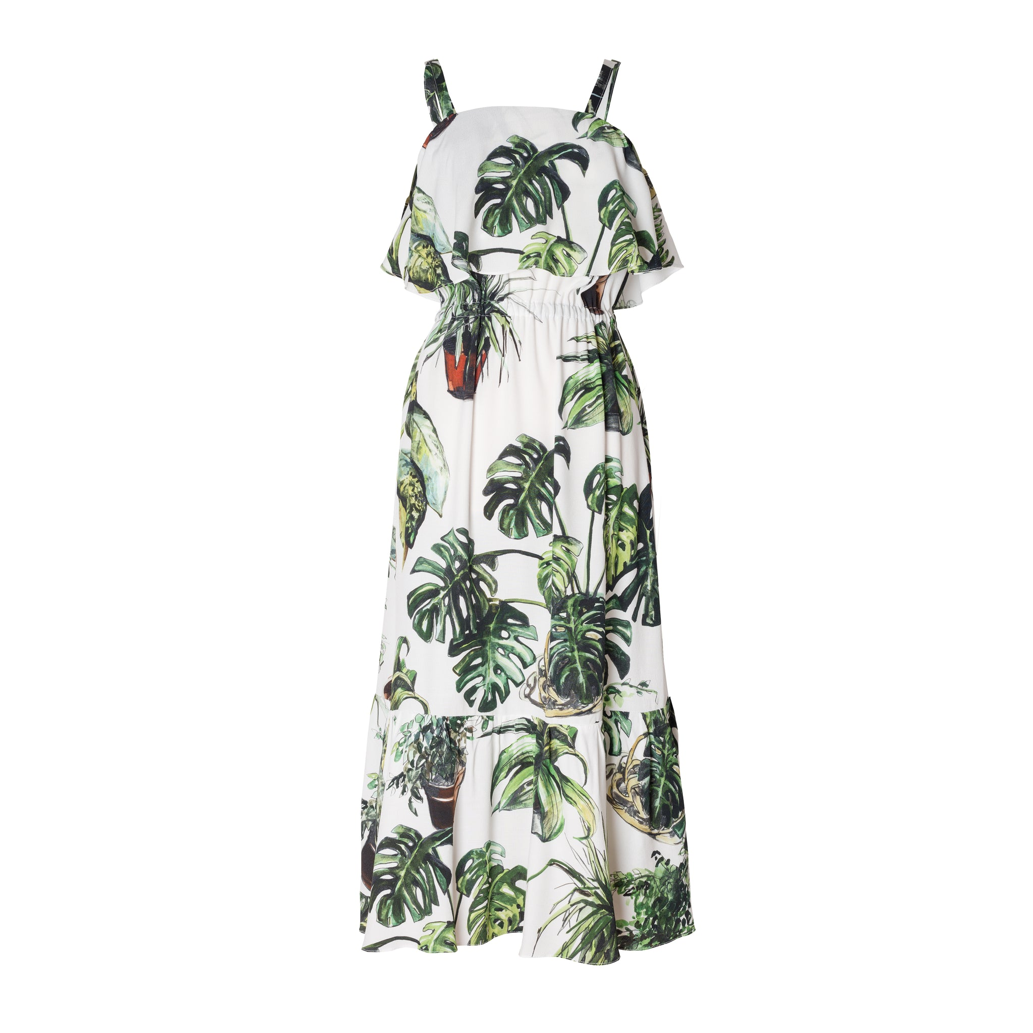 Plants Print Ruffled Dress