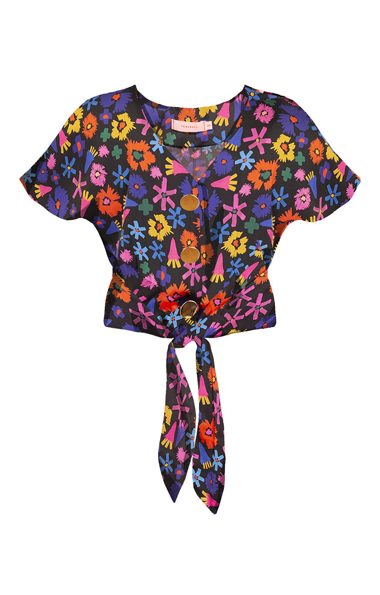PALMA tie front button top 'doodle flower'