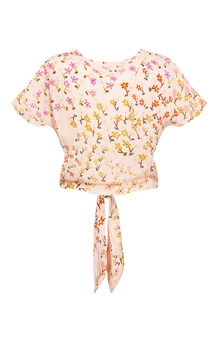 PALMA tie front button top 'wee flower'