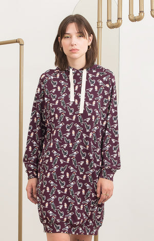 PARAD hooded sweatshirt dress 'small birds'