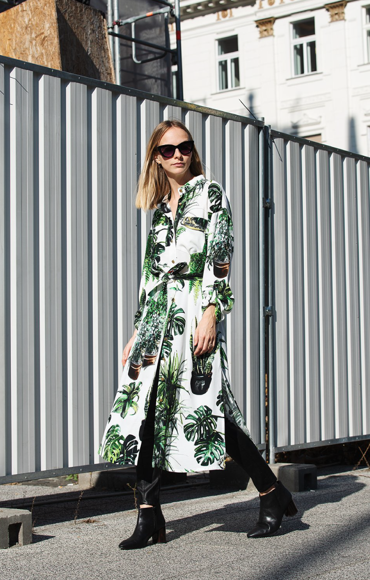 Plants Print Shirtdress