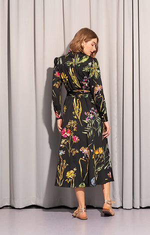 SPLIT wrap dress 'dark botanical'