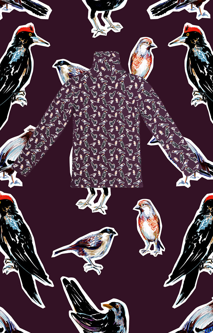 TARNA turtleneck top 'small birds'