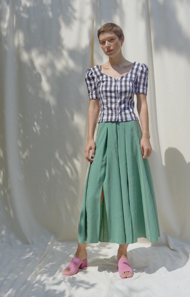 VAC Lucky Green Multi Slits Midi Skirt