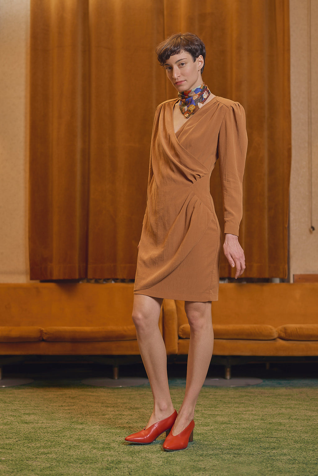 MAVTI Rust Overlap Dress