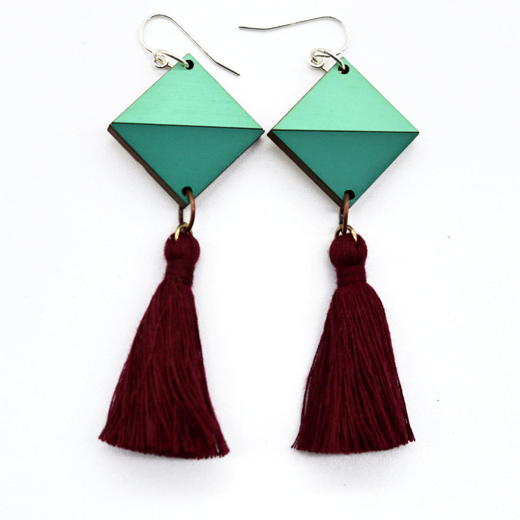 Tassel Earrings- Emerald & Cove