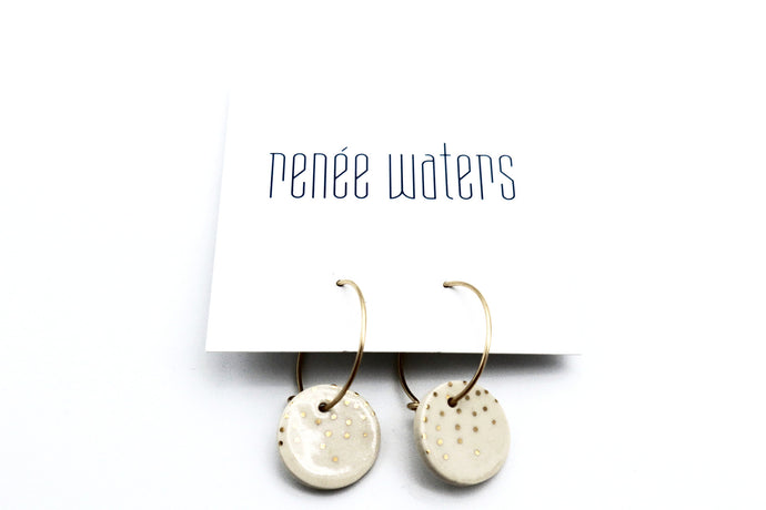 Sphere Hoop Earrings- White Champagne