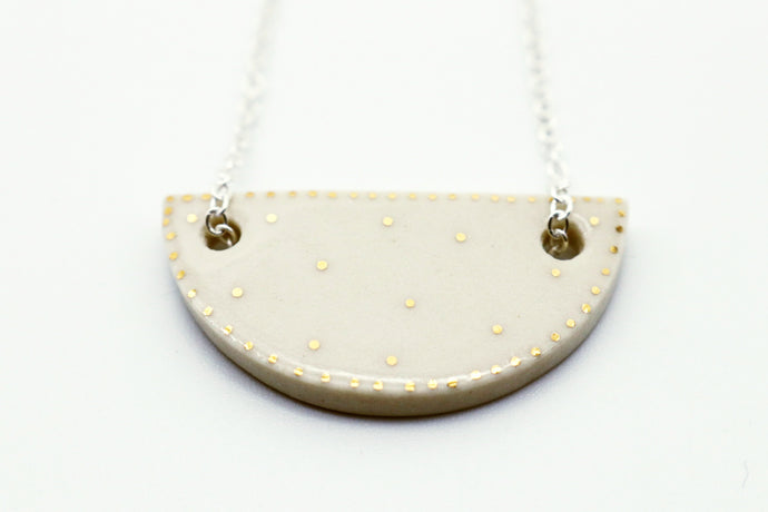 Crescent Pendant Necklace- White