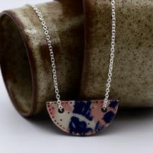 Crescent Pendant Necklace- Rosewater Pink & Royal Blue