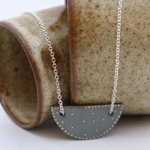 Crescent Pendant Necklace- Mid Grey